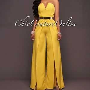 Lime Yellow Wide Slit Legs Jumpsuit